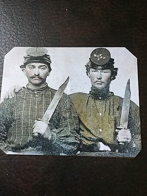 2 Civil War Military Soldiers With Large Knives TinType C687NP