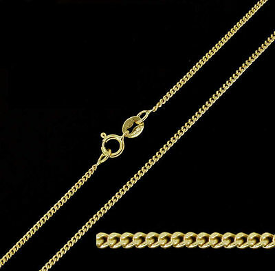 9ct Solid Yellow Gold Diamond Cut Curb Chain Necklace 18""