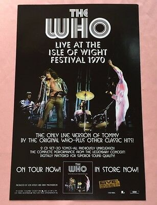 """The WHO Live At The ISLE Of WIGHT FESTIVAL 1970 Promo Poster 11""""X17"""" Near Mint"""
