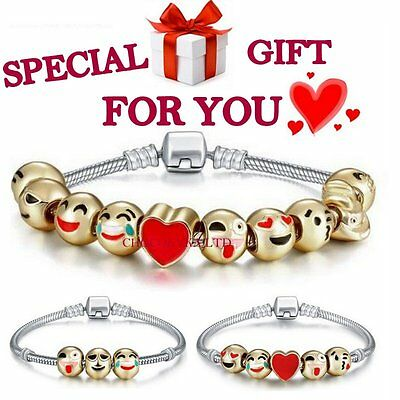 Emoji Charm Bracelet 10 Bead Silver Chain Gold Plated SALE Gift