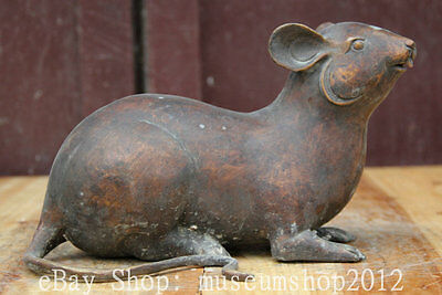11' Old Chinese Folk Bronze Zodiac Year Mouse Mice Rat Animal Statue Sculpture