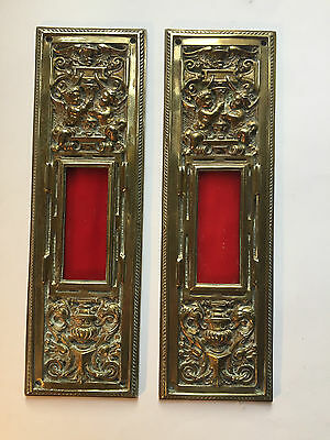 Antique Brass Door Plates Pair with Rose Glass Insets