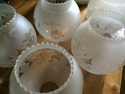 Vintage  Replacement Frosted Etched Globe Oil Lamp /Light Shade 9 available