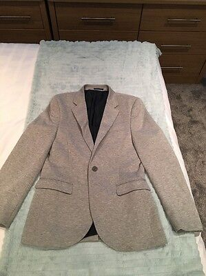 Next Boys Grey Jersey Lined Smart Jacket Age 14 Excellent Condition