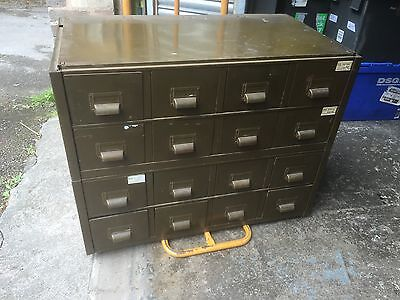 Industrial Drawers Salvaged From Nottingham Brewery. Metal. Green. Index Cards.