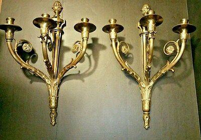 Stunning Pair of Bronze Wall Sconces French  Louis XVI Style