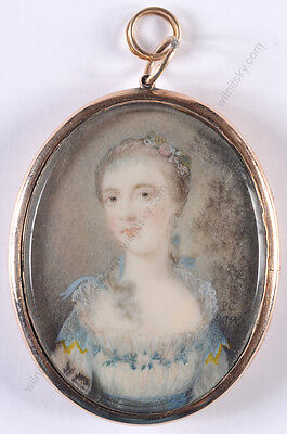 "Penelope Cawardine ""Portrait of a young lady"", rare miniature, 1754"