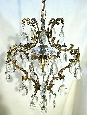 Vintage Antique Victorian Crystal Prisms Chandelier Pendant Ornate Brass Spain
