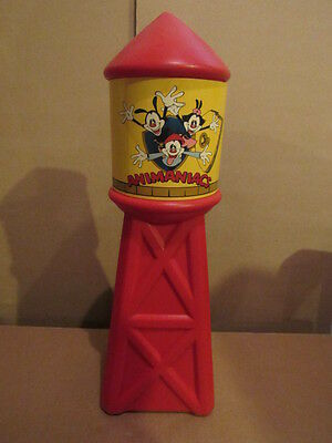 """Vintage 1994 Animaniacs Water Tower 14"""" Red Plastic Piggy Bank Warner Brothers"""