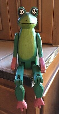 Painted Wooden Jointed Frog - Sitting - Folk Art