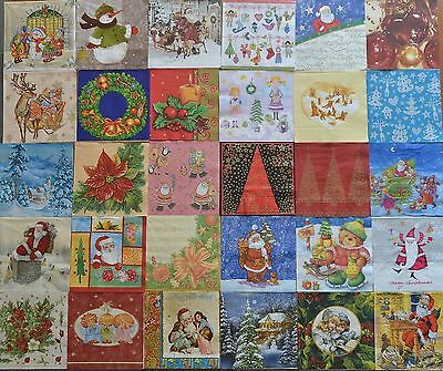 LOT N°17 de 30 SERVIETTES PAPIER NOEL TOUTES DIFFERENTES