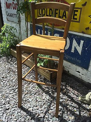 Solid Pine Tall Chair Seat Stool Breakfast Bar / Clerks Or Restaurant Desk