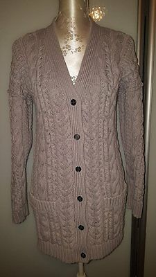 Burberry Brit Cable Knit Long Cardigan Coat Size S