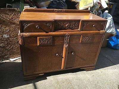 Vintage Retro Side Board Cabinet Ornate 1940's Loung Dining Room