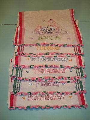 Great Lot of 6 Vintage Dish Towels, Monday-Saturday,Embroidered, CUTE!