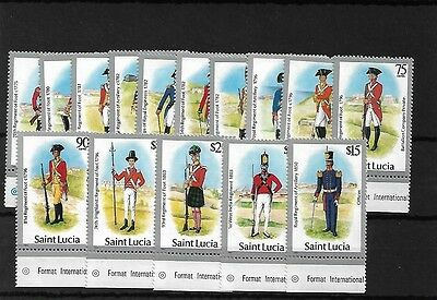St Lucia 1985 Military Uniforms, Sg797/811, Mnh, Cat £24