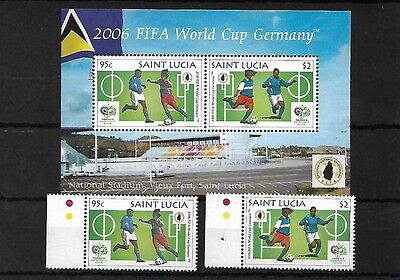 St Lucia 2006 World Cup Germany Set & Mini Sheet Mnh, Sg1349/50 & Ms1351