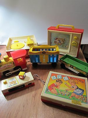 Vintage Fisher Price Assorted Toy Lot Record Player Television Train+ More