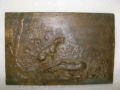 Antique  BRONZE HUNTING DOG SCENE PANEL WALL PLAQUE 30 x 20 cm. Weight 3 KG.