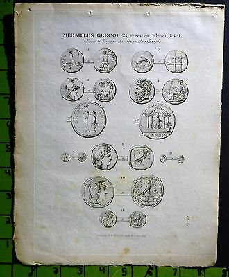 Ancient Greek Coins Engraving Late 1700's 8x10 Inches