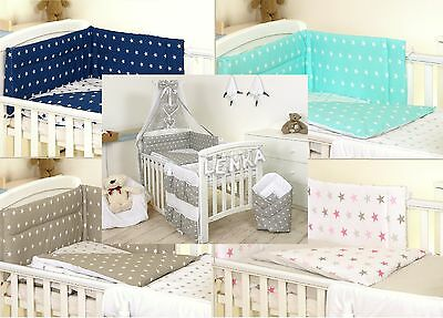 Grey-White Stars Baby Bedding Set Cot Or Cot Bed - Covers Bumper Canopy Blanket