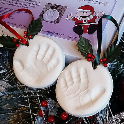 Baby Clay Handprint Christmas Decoration Impression Kit With Holly - Makes 2-4
