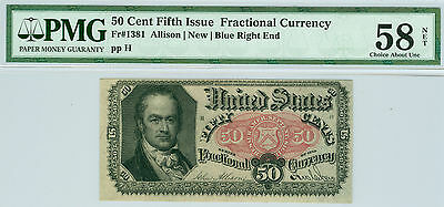 Fractional Currency 50 Cent 5Th Issue  Fr # 1381 Blue Right End Pmg 58