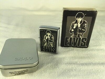 Elvis Presley Zippo Lighter With Collectors Tin Slipcase 2000 Rock Leather
