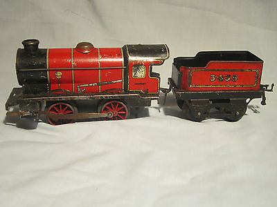 Hornby  O gauge  Post War Red M1 locomotive and tender
