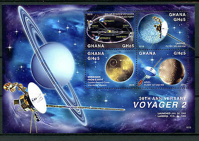 Ghana 2016 MNH NASA Voyager 2 Space Probe 30th Anniv 4v M/S Stamps