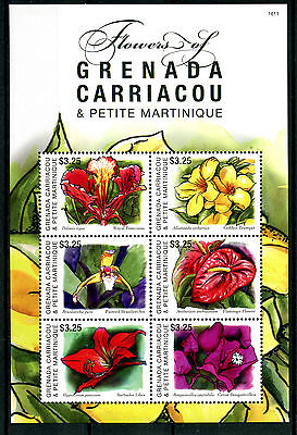 Grenadines Grenada 2016 MNH Flowers 6v M/S Lilies Bougainvillea Stamps