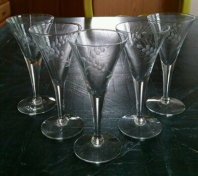 (5) Vintage Cordials Glasses V-shaped Gray Cut Wheat EUC