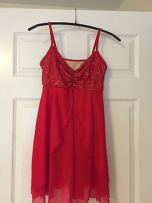 Solo Dance Costume Pageant Skate Lyrical Red Small Adult NWOT