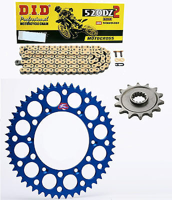 DID gold race chain & 14t/49t Renthal blue sprocket kit Yamaha YZ250F 2001-2016