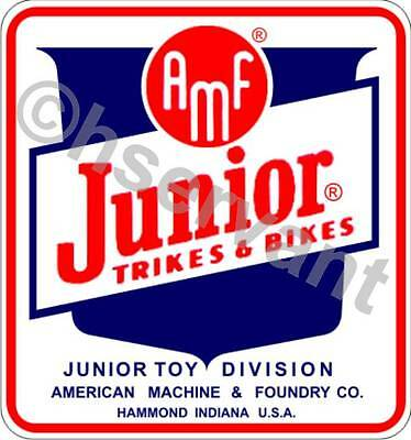 HEADSTAMP -TRIKES & BIKES VINTAGE AMF TRICYCLE DECAL LABEL - ANTIQUE 1950s