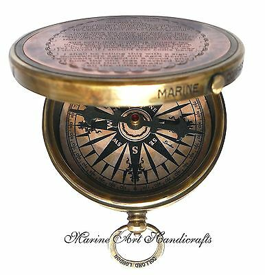 ''Robert Frost Poem'' Engraved Brass Compass with Embossed Needle & with Leat...
