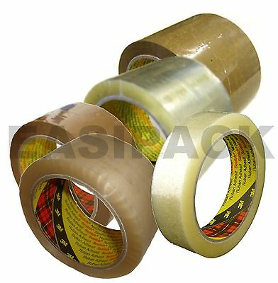 Scotch 3M 371 Heavy Duty Clear Buff Parcel / Packing Tape Rolls 25mm 48mm & 75mm