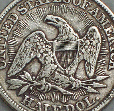 1853 Seated Liberty HALF Dollar RAYS & ARROWS SILVER XF Detailing Authentic 50C