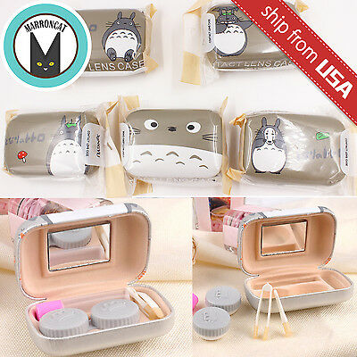 Totoro Faux Leather Cartoon Contact Lens Storage Case Box Container Travel Kit