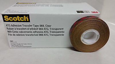 3M Scotch 969 ATG Reverse Wound Transfer Tape - 1/2 in x 18 Yds - 12 PACK