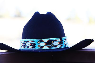 Navajo Native American Style Wide Hat Band Beaded Hatband