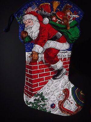 "Vintage Santa Down to the Chimney Huge Christmas Stocking Toys Candies 30"" x 17"""