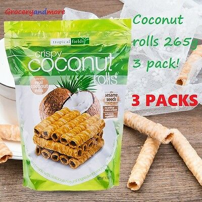 Tropical Fields Crispy Coconut Rolls 265G 3 pack!