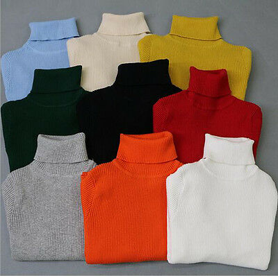 Autumn/Winter Knitted Casual Solid Color High-necked Children Sweaters Clothing