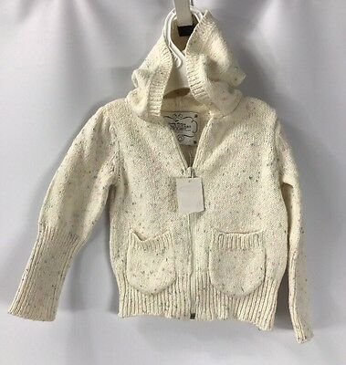 Old Navy Baby Girls Hooded Sweater Jacket Ivory Knit Colorful NWT size 12-18 mo