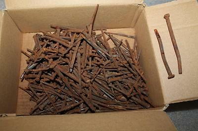 "Huge Lot Of Antique Square Head Nails Spikes 2 1/2"" - 5 1/8"" Over 4 1/2 Lbs"