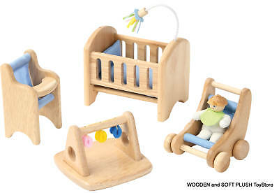 VOILA TOY wooden DOLL HOUSE BABY ROOM pretend play *NEW