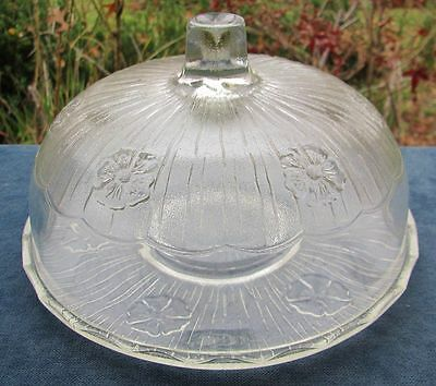 Beautiful Vintage Flower Pattern Glass Cake Plate With Dome Lid
