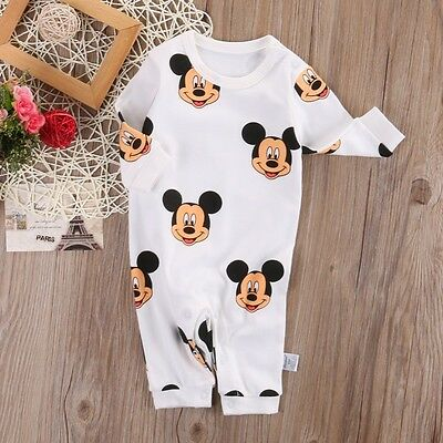 Cotton Newborn Baby Boy Girl Mickey Romper Jumpsuit Bodysuit Outfit Clothes 0-24