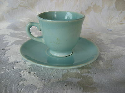 Fantastic Luray Surf Green Demitasse Cup & Saucer Made 6/1947